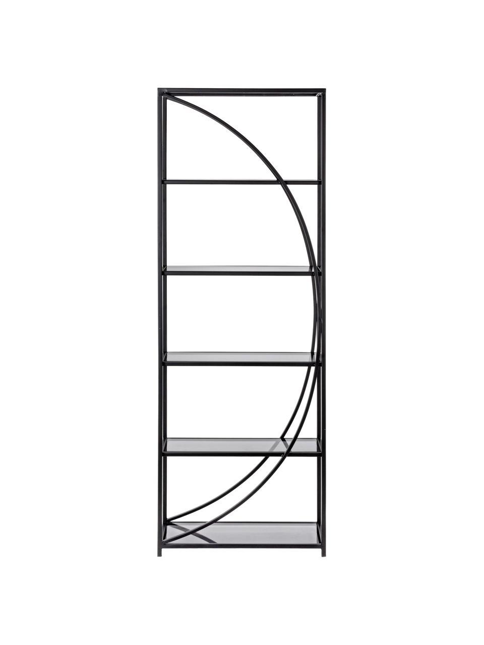 Regał z metalu ze szklanymi półkami Korvet, Stelaż: metal epoksydowany, malow, Czarny, szary, transparentny, S 61 x W 178 cm