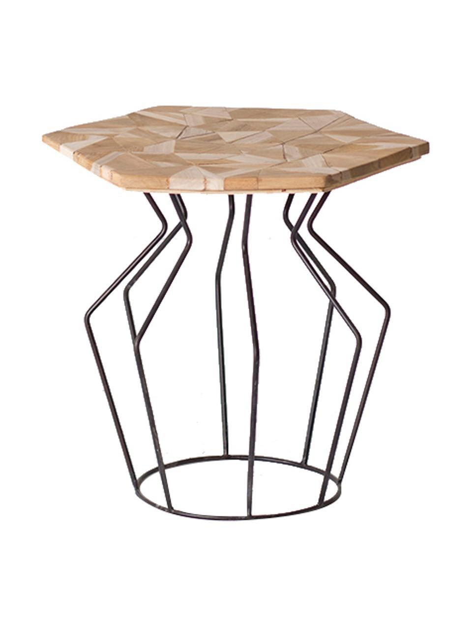 Tavolino beige/nero Baron, Gambe: metallo, Beige, nero, Larg. 45 x Alt. 45 cm