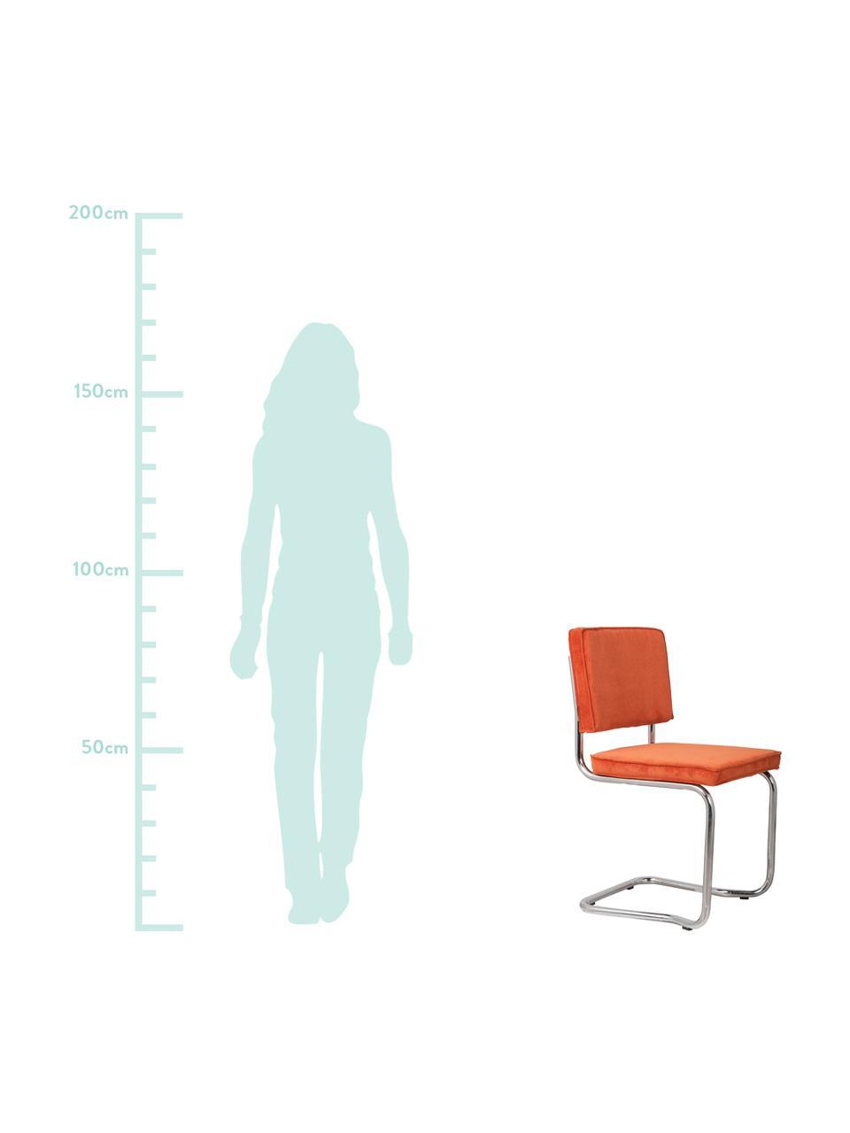 Corduroy cantilever stoel Kink, Bekleding: corduroy (88% nylon, 12% , Frame: verchroomd metaal, Poten: kunststof, Oranje, chroomkleurig, 48 x 48 cm