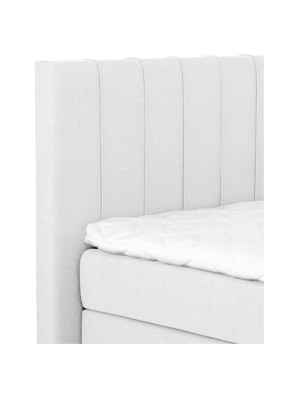 Premium Boxspringbett Lacey in Hellgrau, Matratze: 7-Zonen-Taschenfederkern , Füße: Massives Buchenholz, lack, Webstoff Hellgrau, 140 x 200 cm