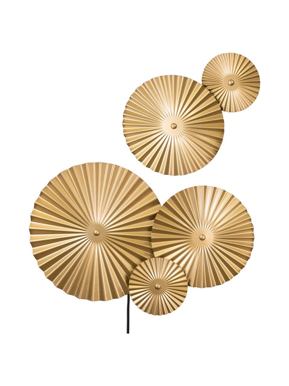 Design LED-Wandleuchte Omega mit Stecker, Lampenschirm: Metall, vermessingt, Messing, 70 x 55 cm