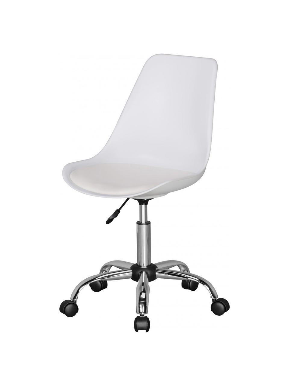 Bürodrehstuhl Korsika mit gepolstertem Sitz, Sitzfläche: Kunstleder, Gestell: Metall, verchromt, Rollen: Kunststoff, Weiß, Chrom, B 47 x T 46 cm