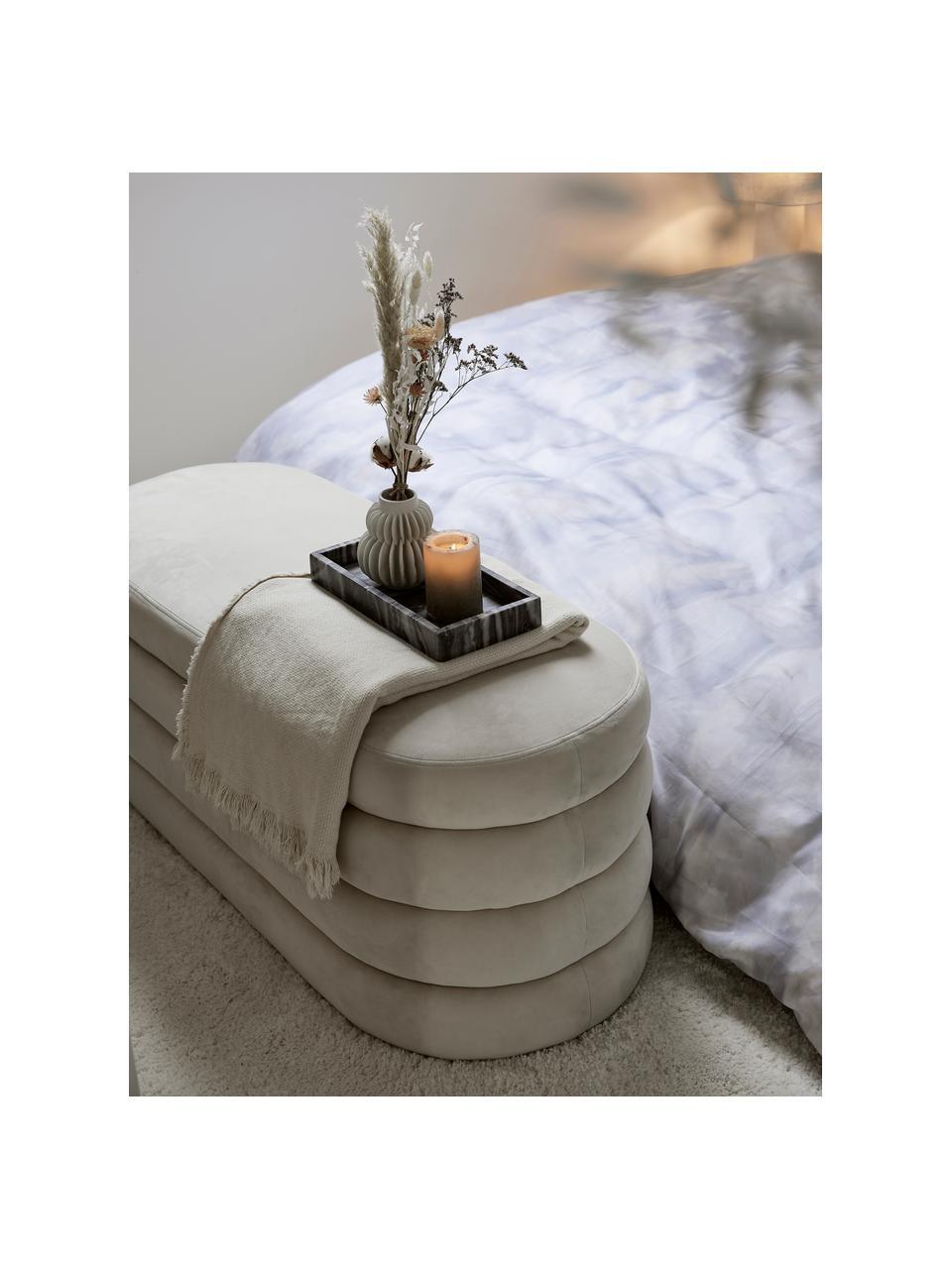 Panca imbottita in velluto bianco crema Alto, Rivestimento: velluto (poliestere) Il r, Struttura: legno di pino massiccio, , Velluto bianco crema, Larg. 110 x Alt. 47 cm
