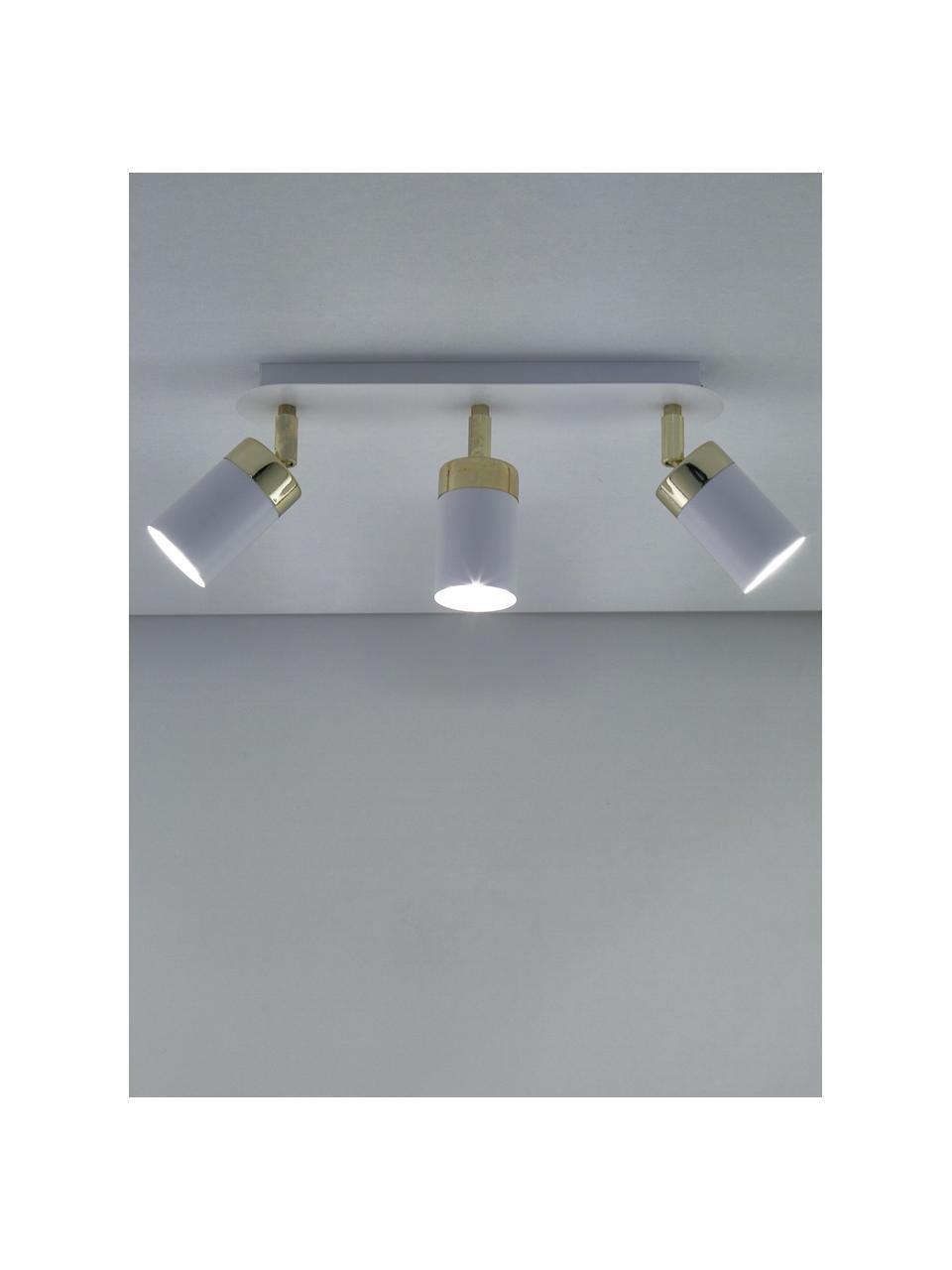 Deckenstrahler Joker, Baldachin: Metall, lackiert, Weiß, Messingfarben, 45 x 13 cm
