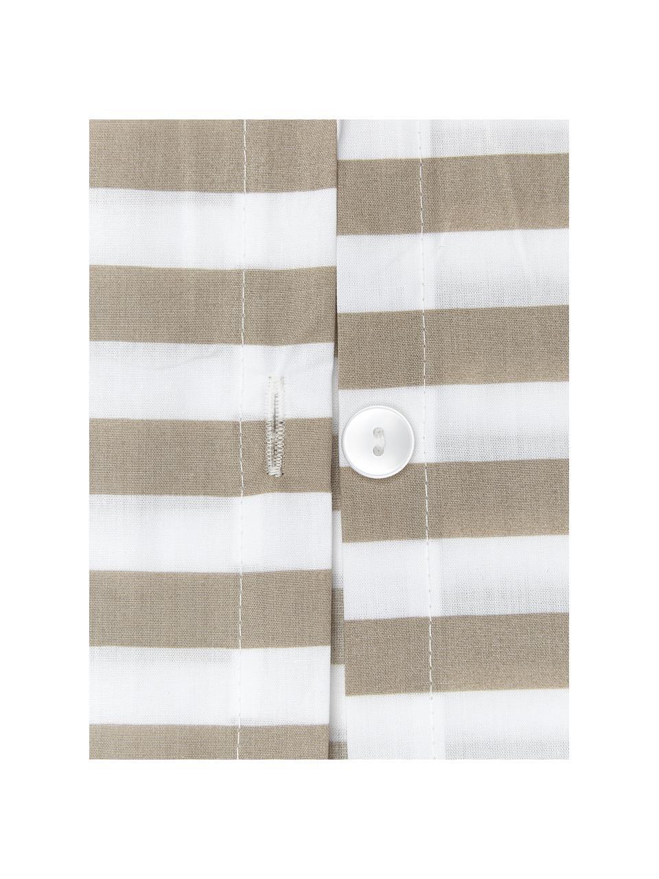 Gestreifte Baumwollperkal-Bettwäsche Yuliya in Beige/Weiß, Webart: Perkal Fadendichte 180 TC, Taupe, Weiß, 240 x 220 cm + 2 Kissen 80 x 80 cm