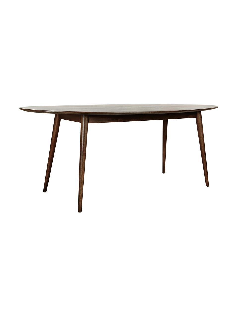 Ovale massief houten eettafel Oscar, Gelakt massief mangohout, Donkerbruin, B 203 x D 97 cm