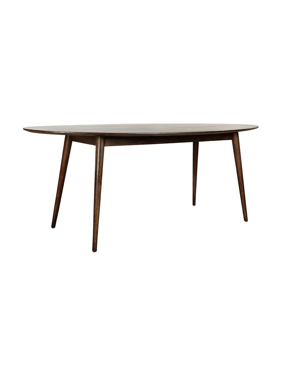 Owalny stół do jadalni z drewna mangowego Oscar, Lite drewno mangowe, lakierowane, Drewno mangowe, S 203 x G 97 cm