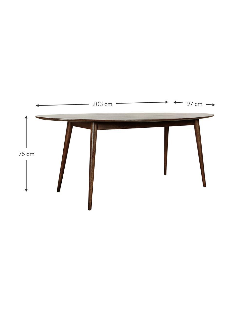 Ovaler Massivholz Esstisch Oscar, Mangoholz massiv, lackiert, Mangoholz, B 203 x T 97 cm