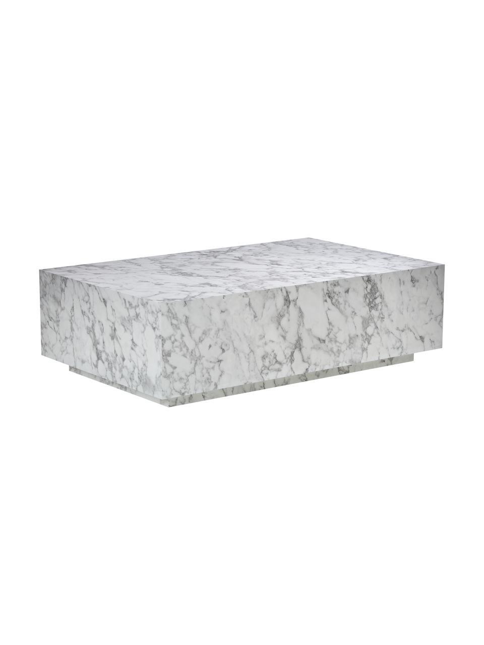 Stolik kawowy z imitacji marmuru Lesley, Płyta pilśniowa średniej gęstości (MDF) pokryta folią melaminową, Biały, marmurowy, błyszczący, S 120 x W 35 cm
