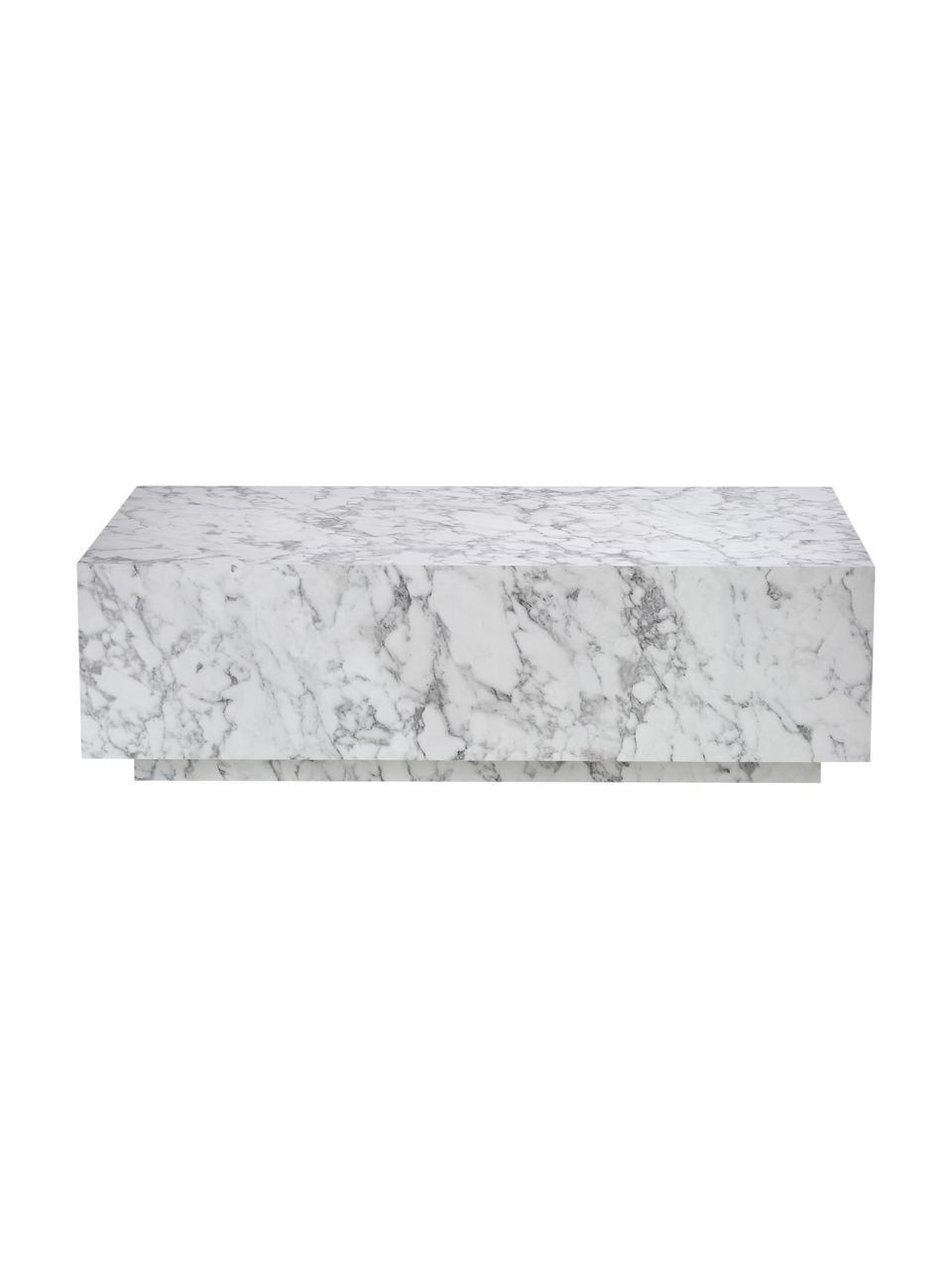 Table basse flottante aspect marbre Lesley, Blanc, marbré, brillant