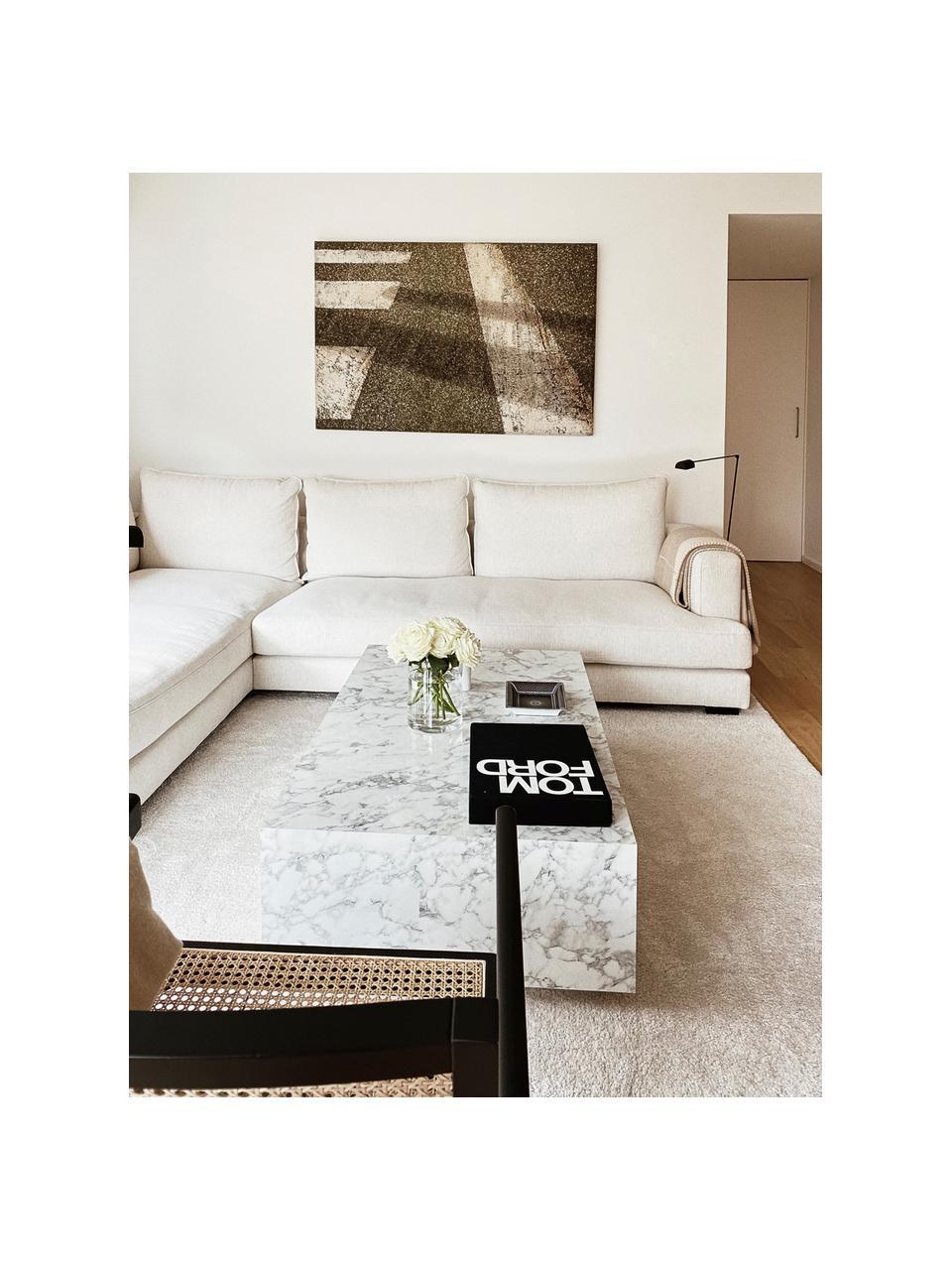 Stolik kawowy z imitacją marmuru Lesley, Płyta pilśniowa średniej gęstości (MDF) pokryta folią melaminową, Biały, imitacja marmuru, S 120 x W 35 cm