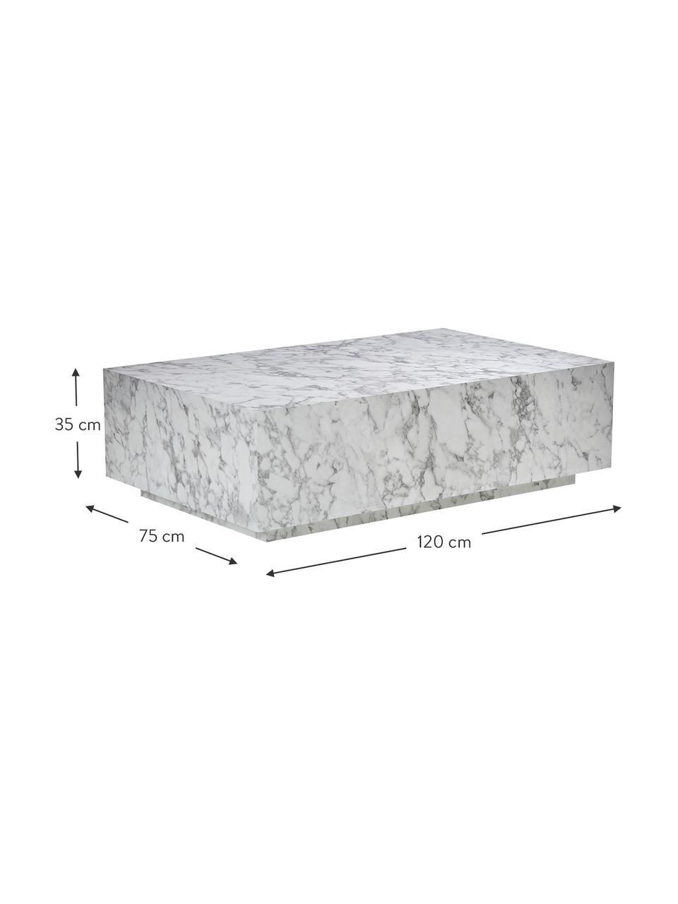 Zwevende salontafel Lesley met marmerlook, MDF bekleed met melaminefolie, Wit, marmerlook, 120 x 35 cm