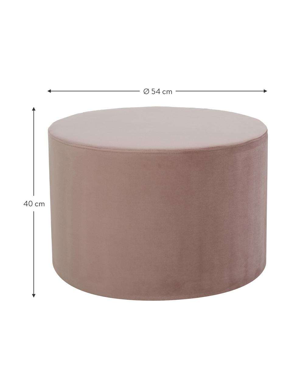 Puf z aksamitu Daisy, Tapicerka: aksamit (poliester) Dzięk, Aksamitny blady różowy, Ø 54 x W 38 cm