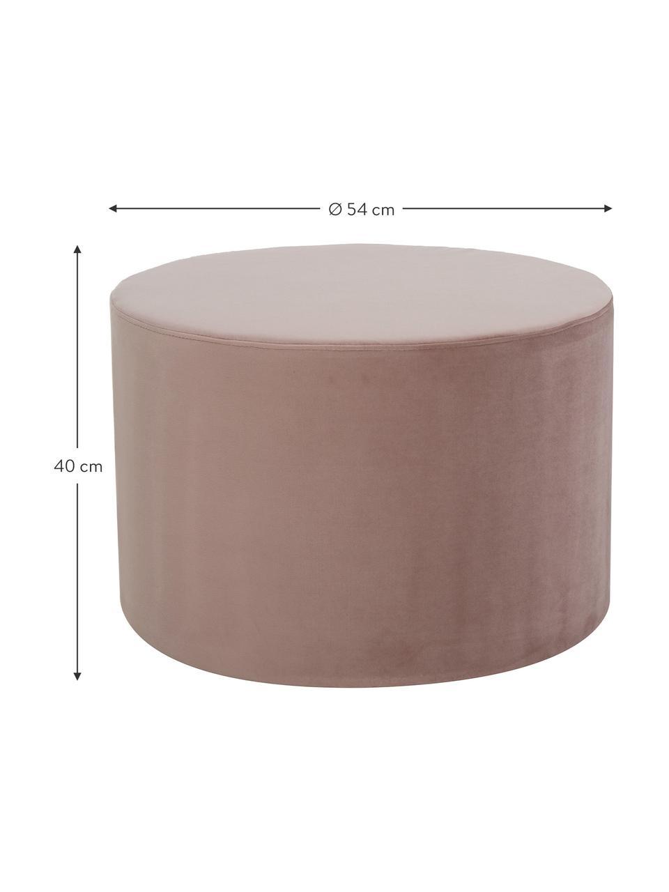 Samt-Hocker Daisy, Bezug: Samt (Polyester) Der hoch, Rahmen: Sperrholz, Samt Rosa, Ø 54 x H 38 cm