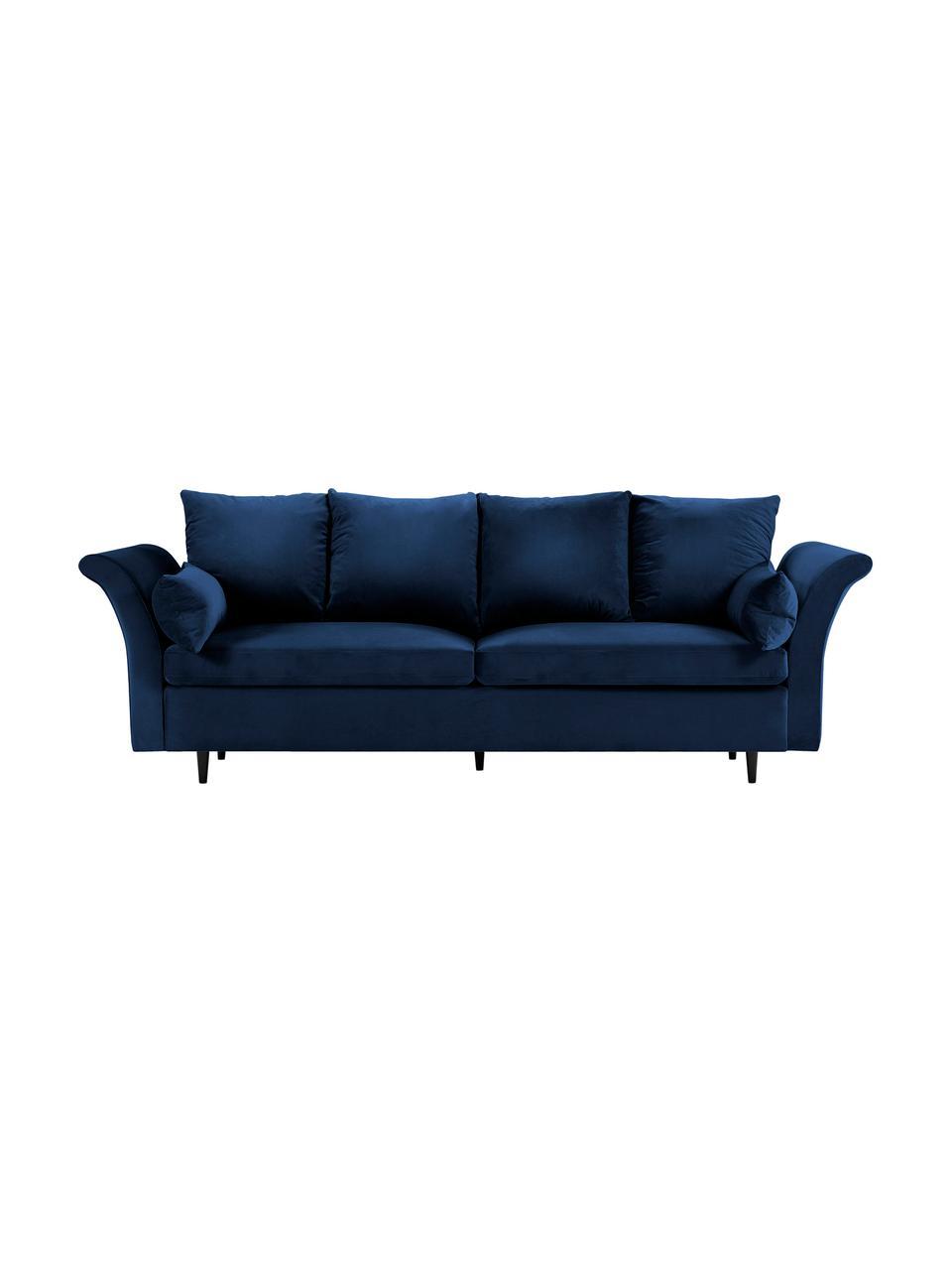 Sofa z aksamitu z funkcją spania i miejscem do przechowywania Lola (3-osobowa), Tapicerka: aksamit poliestrowy Dzięk, Nogi: drewno sosnowe, lakierowa, Ciemny niebieski, S 245 x G 95 cm