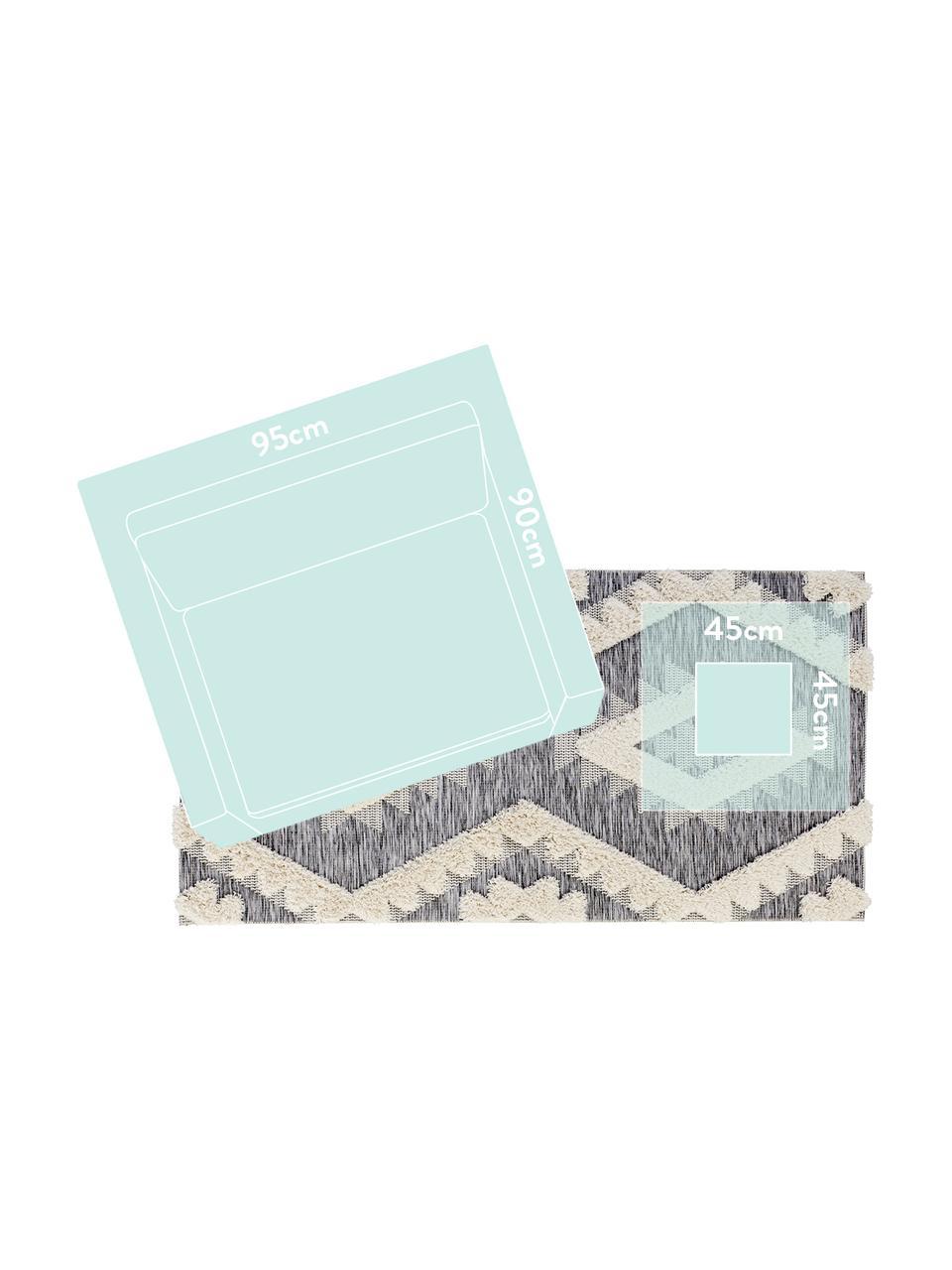 Dywan wewnętrzny/zewnętrzny z wypukłą strukturą Tiddas, Kremowy, szary, S 194 x D 290 cm