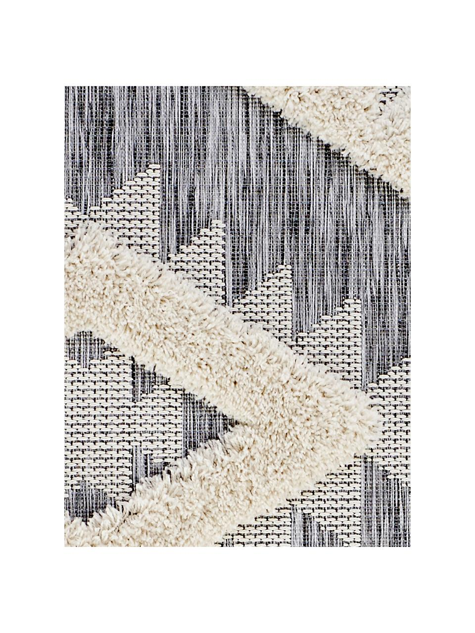 In- en outdoor vloerkleed Tiddas met hoog-laag effect in grijs-crèmekleur, Bovenzijde: 100% polypropyleen, Onderzijde: polypropyleen, Crèmekleurig, grijs, B 195 x L 290 cm (maat L)