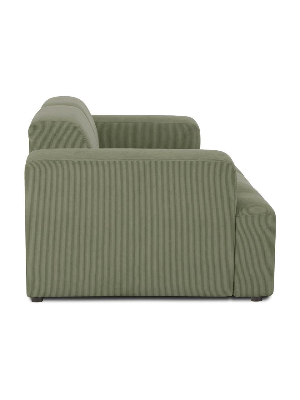 Ribfluwelen bank Melva (2-zits) in groen, Bekleding: corduroy (92% polyester, , Frame: massief grenenhout, FSC-g, Poten: kunststof, Corduroy groen, 198 x 101 cm