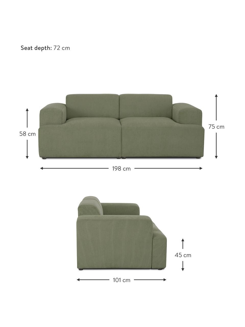 Cord-Sofa Melva (2-Sitzer) in Grün, Bezug: Cord (92% Polyester, 8% P, Gestell: Massives Kiefernholz, FSC, Füße: Kunststoff, Cord Grün, B 198 x T 101 cm