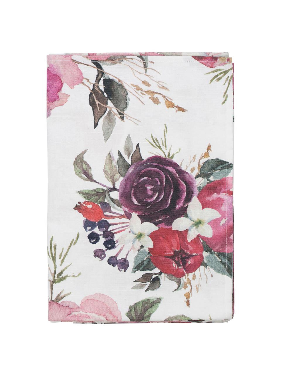Baumwoll-Tischdecke Florisia mit Blumenmotiv, 100% Baumwolle, Rosa, Weiß, Lila, Grün, 160 x 160 cm