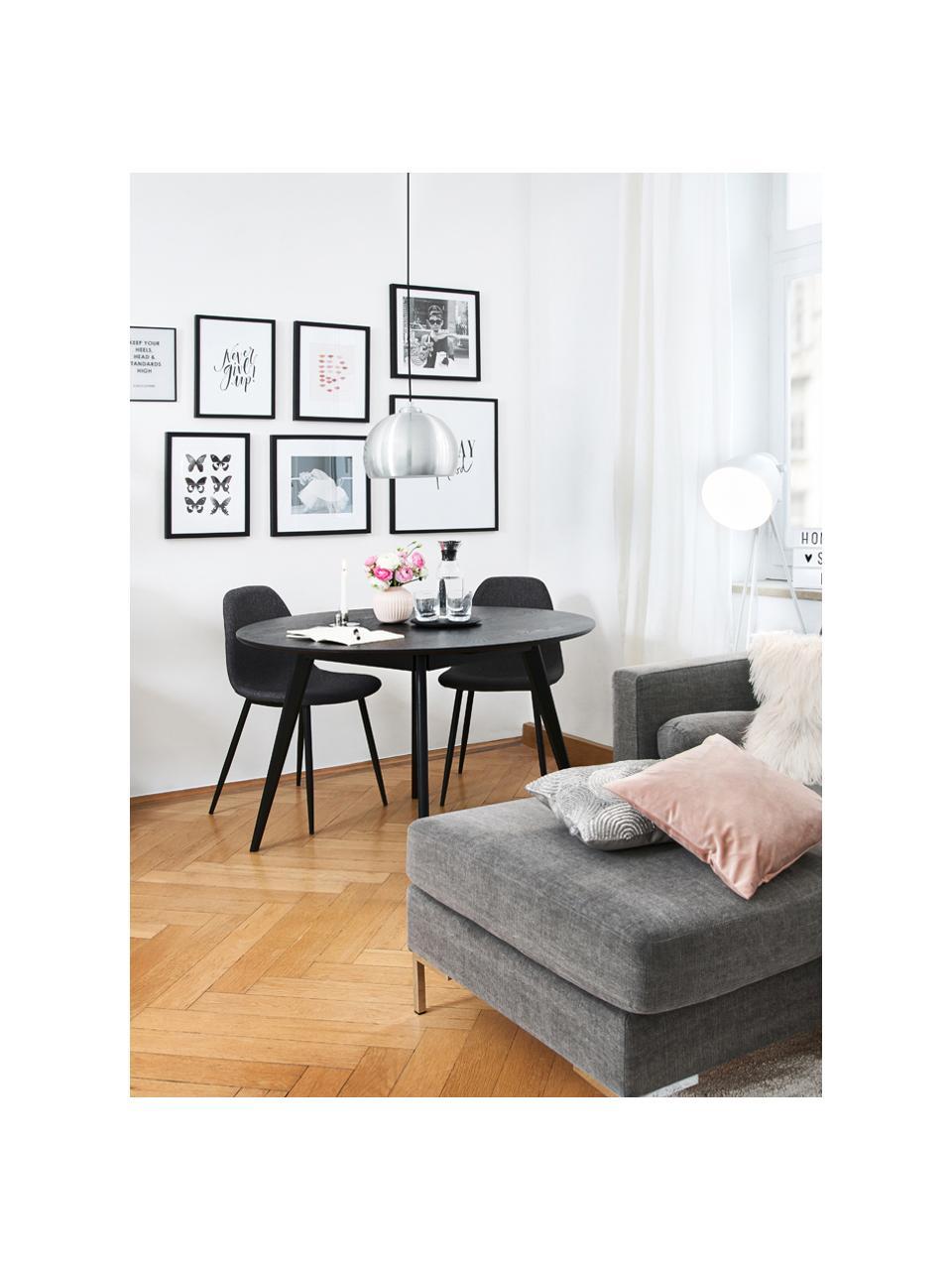 Gestoffeerde stoelen Karla in donkergrijs, 2 stuks, Bekleding: 100% polyester, Poten: metaal, Bekleding: donkergrijs. Poten: zwart, B 44 x D 53 cm