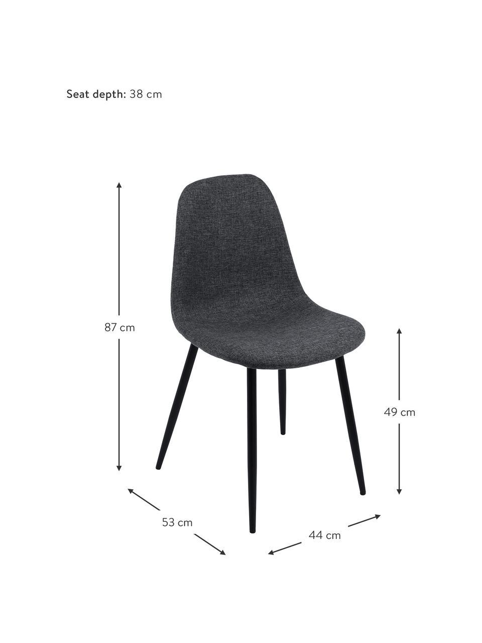 Chaise rembourrée Karla, 2pièces, Tissu gris foncé, pieds noir