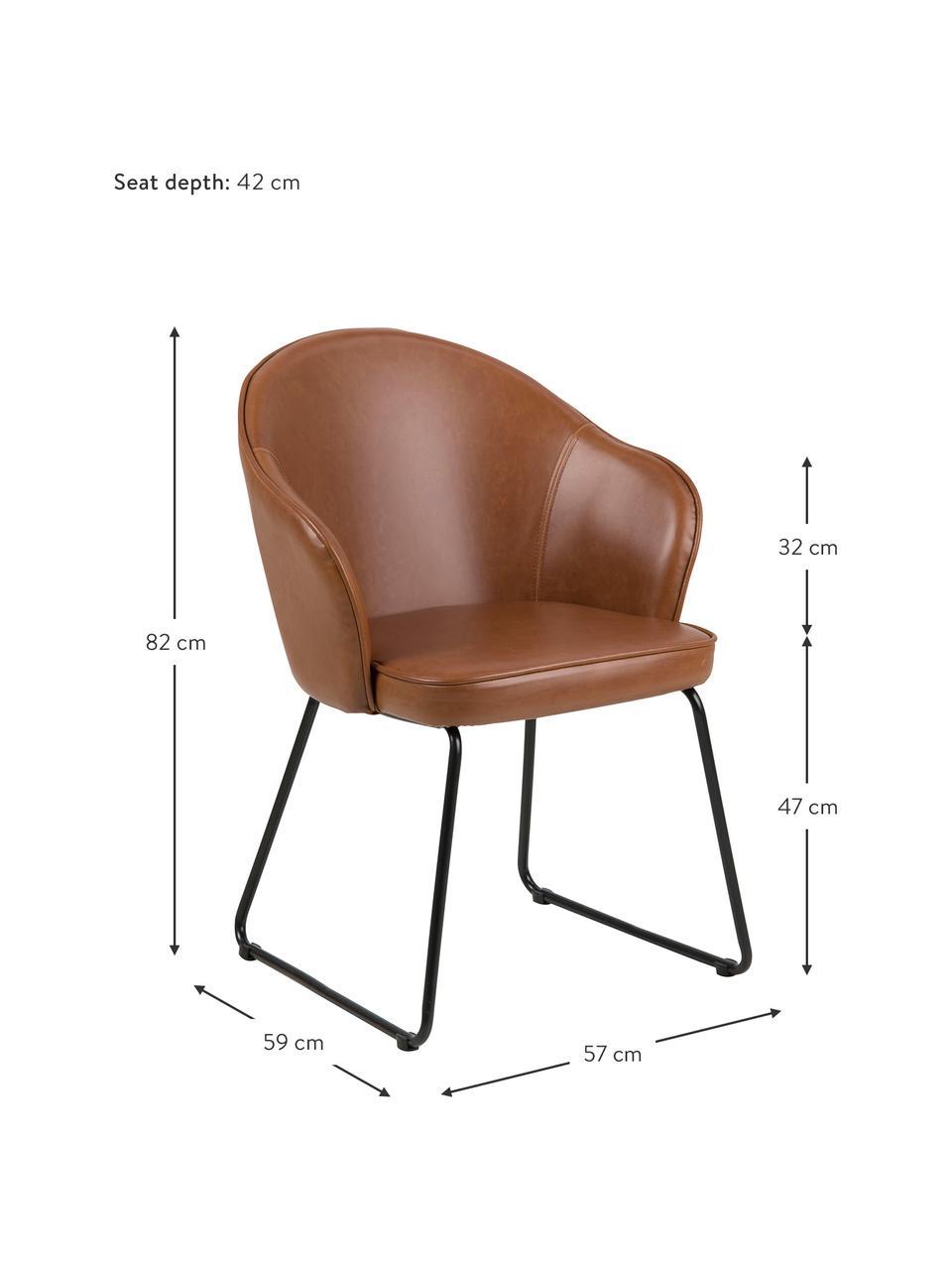 Kunstleder-Armlehnstuhl Mitzie, Bezug: Polyurethan (Kunstleder), Beine: Metall, lackiert, Kunstleder Cognac, Beine Schwarz, B 57 x T 59 cm