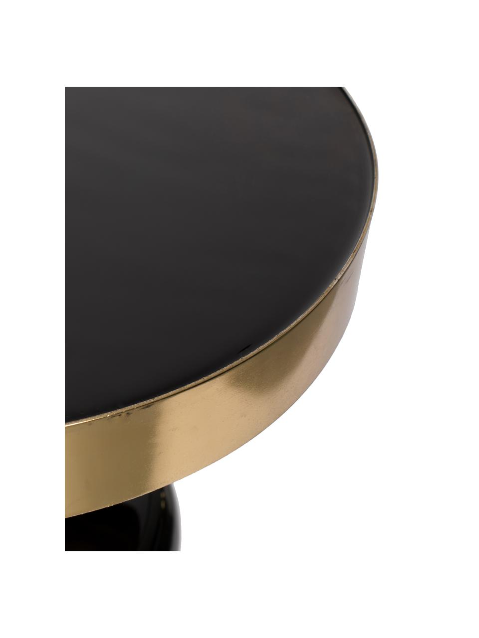 Tavolino rotondo smaltato Glam, Piano d'appoggio: metallo smaltato, Struttura: metallo verniciato a polv, Nero, Ø 36 x Alt. 51 cm