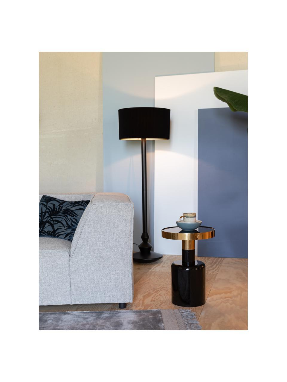 Geglazuurde bijzettafel Glam in zwart, Tafelblad: geëmailleerd metaal, Frame: gepoedercoat metaal, Zwart, Ø 36 x H 51 cm