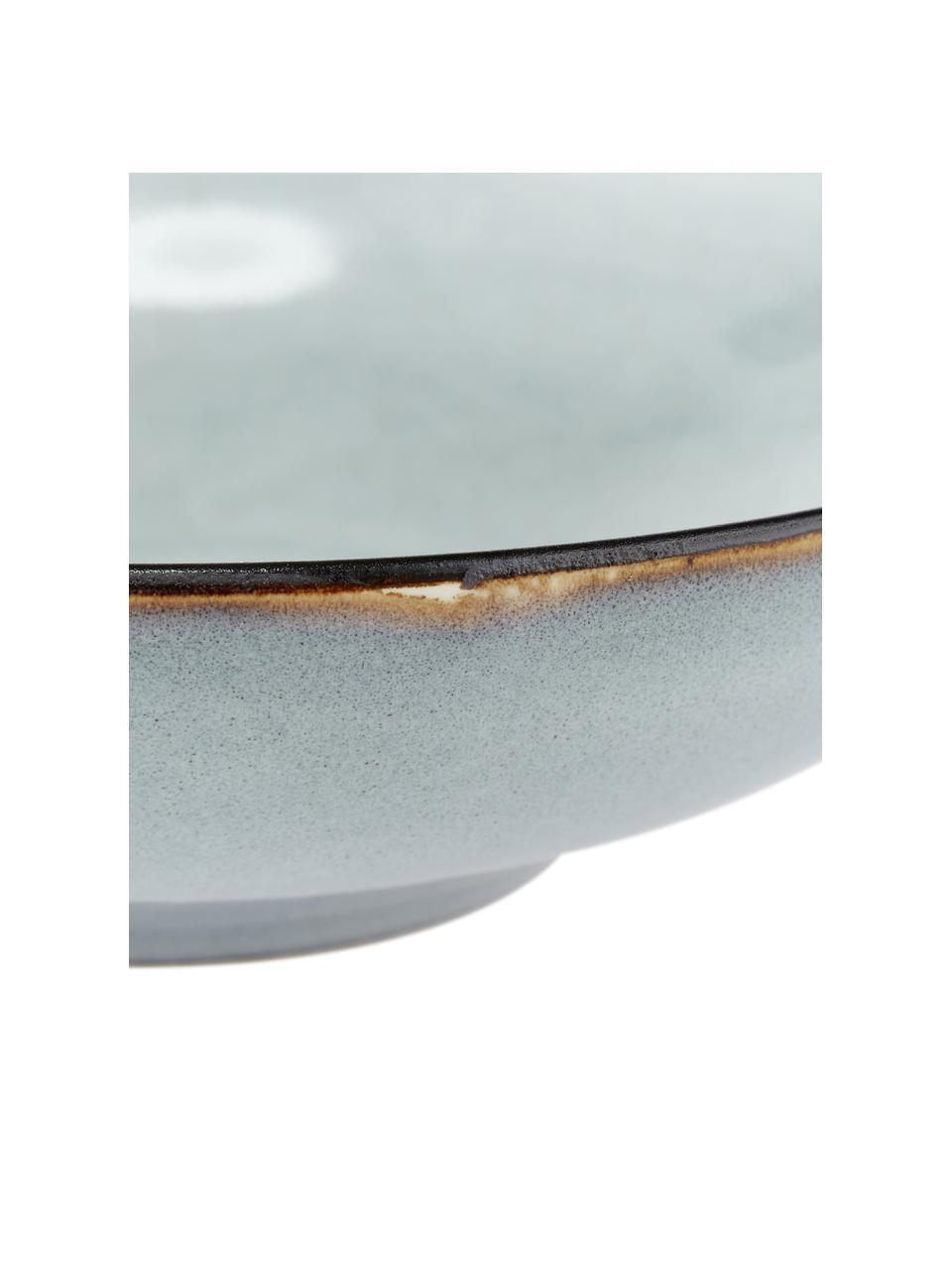 Handgemachte Steingut-Suppenteller Thalia in Blaugrau, 2 Stück, Steingut, Grau, Ø 22 x H 6 cm