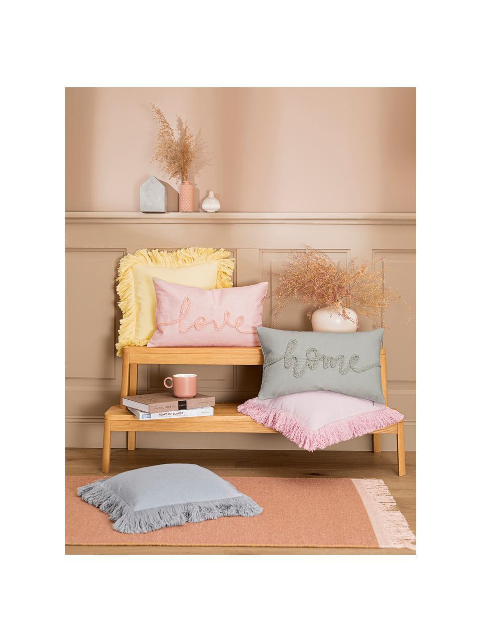 Kissenhülle Mina mit gestickter Aufschrift, 70% Polyester, 30% Baumwolle, Grau, 30 x 50 cm