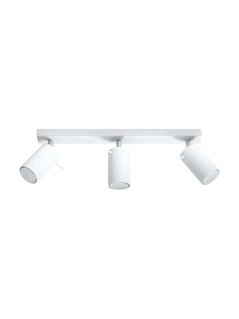 Plafondspot Etna in wit, Baldakijn: gelakt staal, Wit, 45 x 15 cm