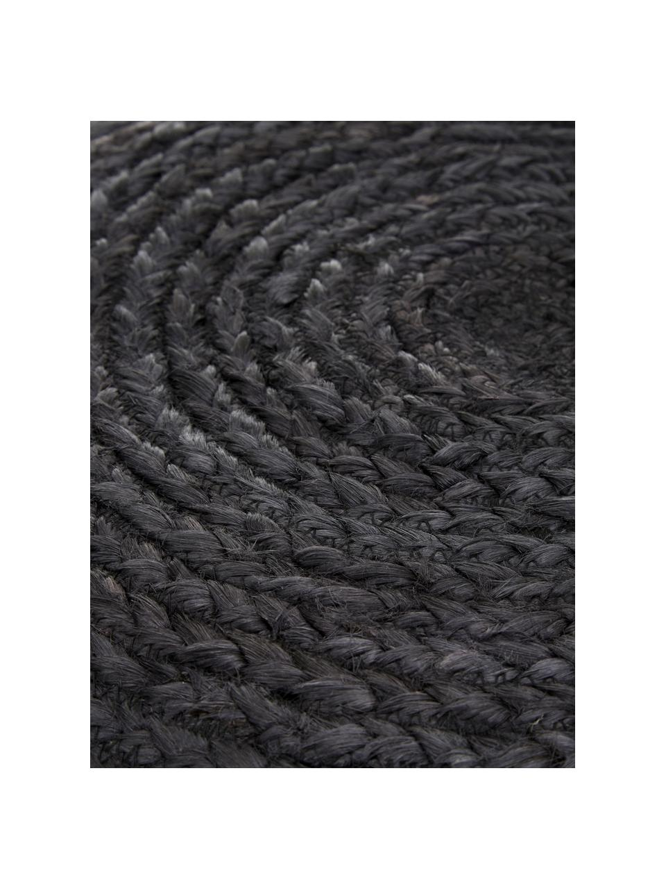 Ručne vyrobená taburetka z juty Bono, Čierna