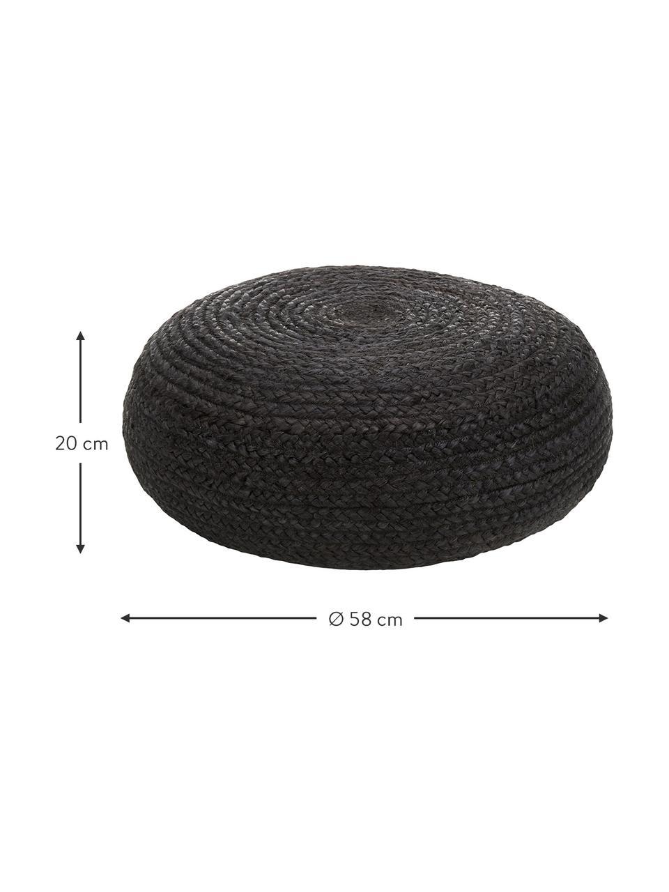 Handgefertigter Pouf Bono aus Jute, Bezug: Jute, Schwarz, Ø 61 x H 21 cm