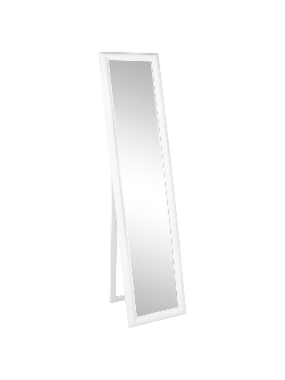 Eckiger Standspiegel Sanzio mit weißem Holzrahmen, Rahmen: Holz, beschichtet, Spiegelfläche: Spiegelglas, Weiß, 40 x 170 cm