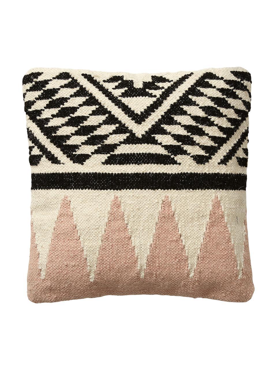 Federa arredo etnica in lana Greta, 90% lana, 10% cotone, Beige, nero, rosa, Larg. 45 x Lung. 45 cm