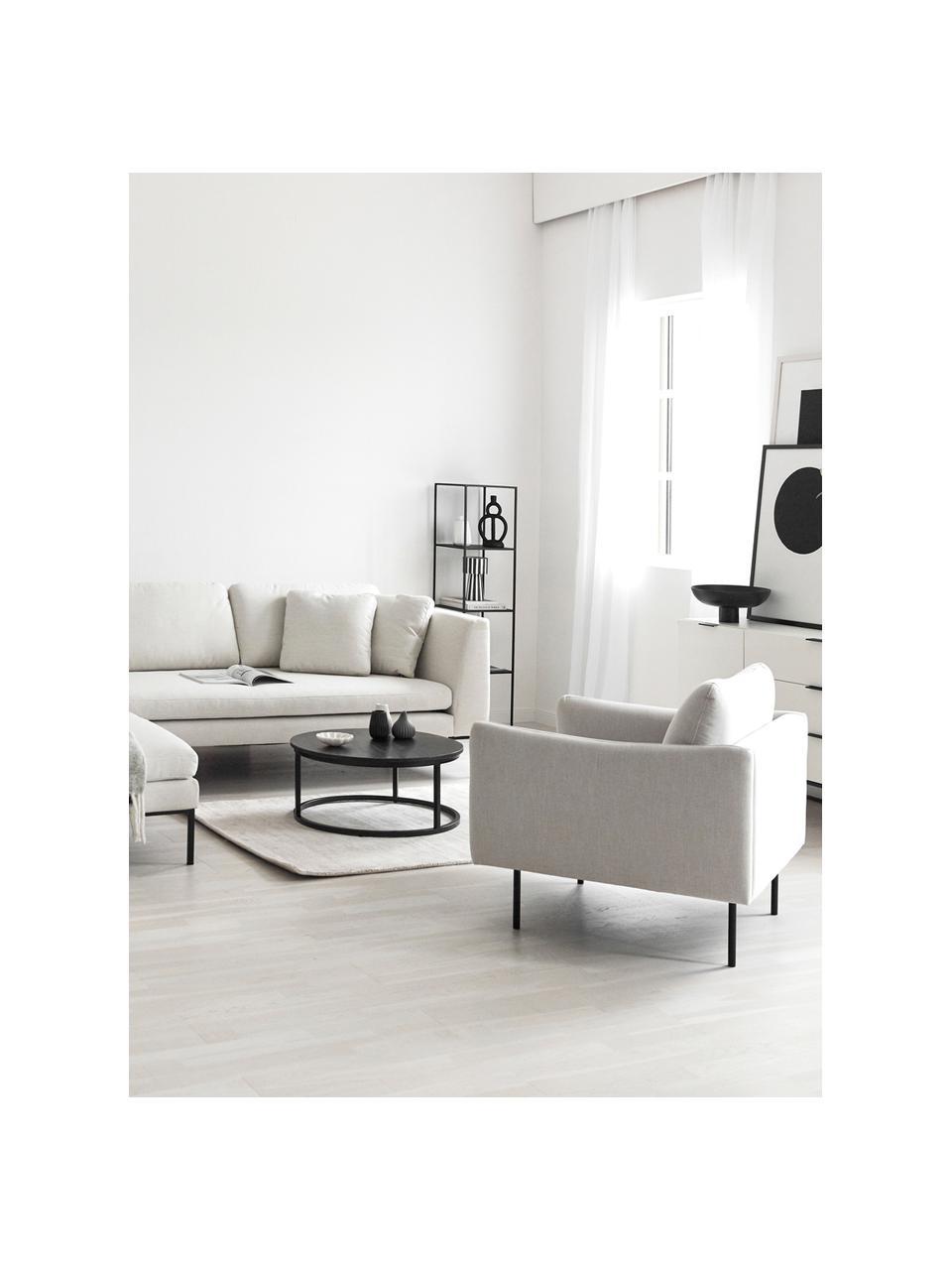 Fauteuil Moby in beige met metalen poten, Bekleding: polyester De hoogwaardige, Frame: massief grenenhout, Poten: gepoedercoat metaal, Beige, B 90 x D 90 cm