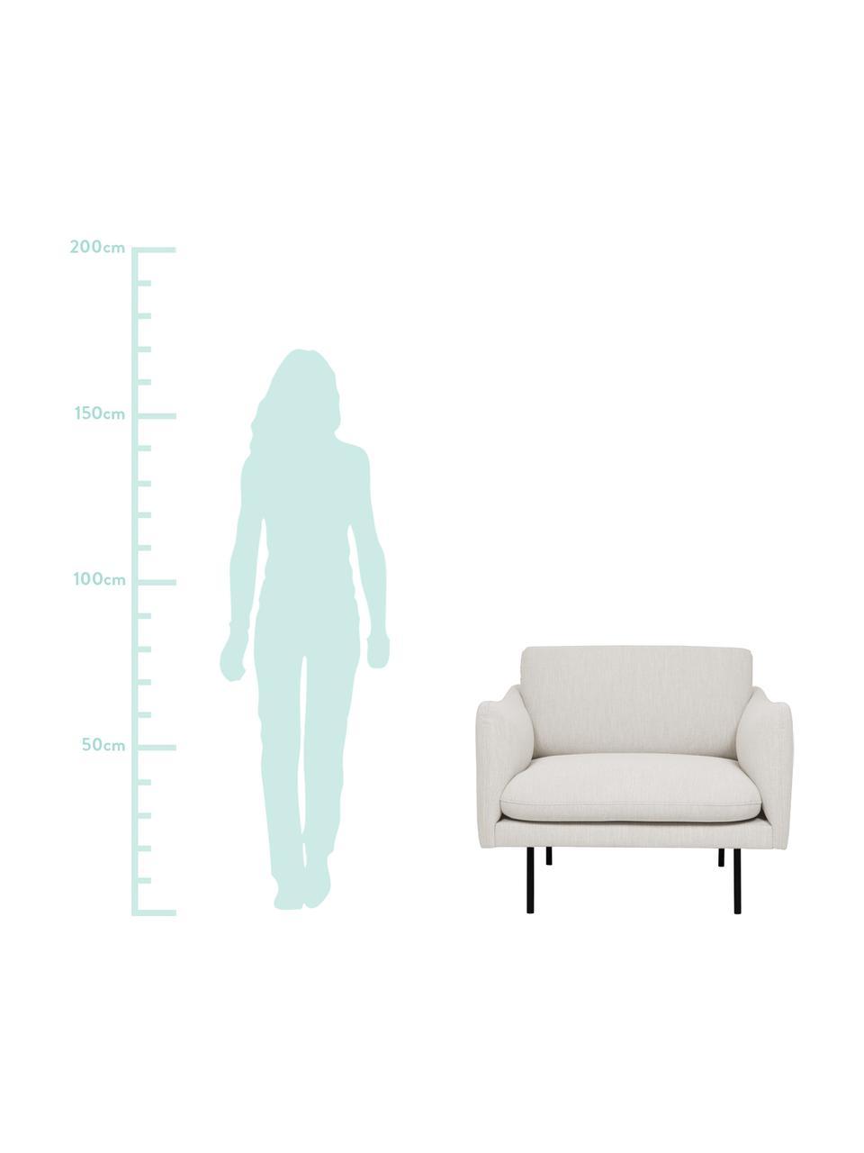 Fotel z metalowymi nogami Moby, Tapicerka: poliester Dzięki tkaninie, Tapicerka: pianka na zawieszeniu spr, Nogi: metal malowany proszkowo, Beżowy, S 90 x G 90 cm