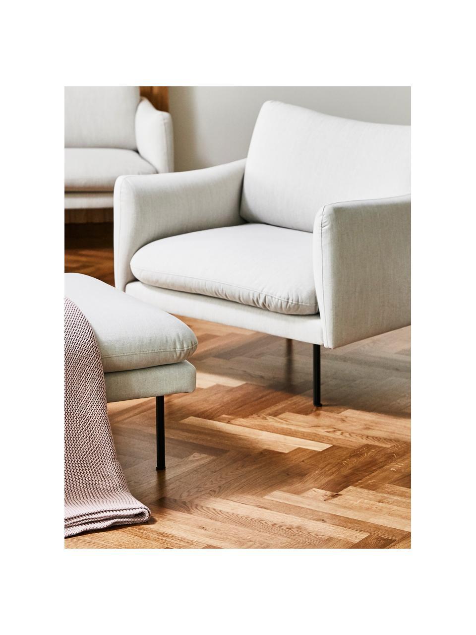 Sessel Moby in Beige mit Metall-Füßen, Bezug: Polyester Der hochwertige, Gestell: Massives Kiefernholz, Füße: Metall, pulverbeschichtet, Webstoff Beige, B 90 x T 90 cm