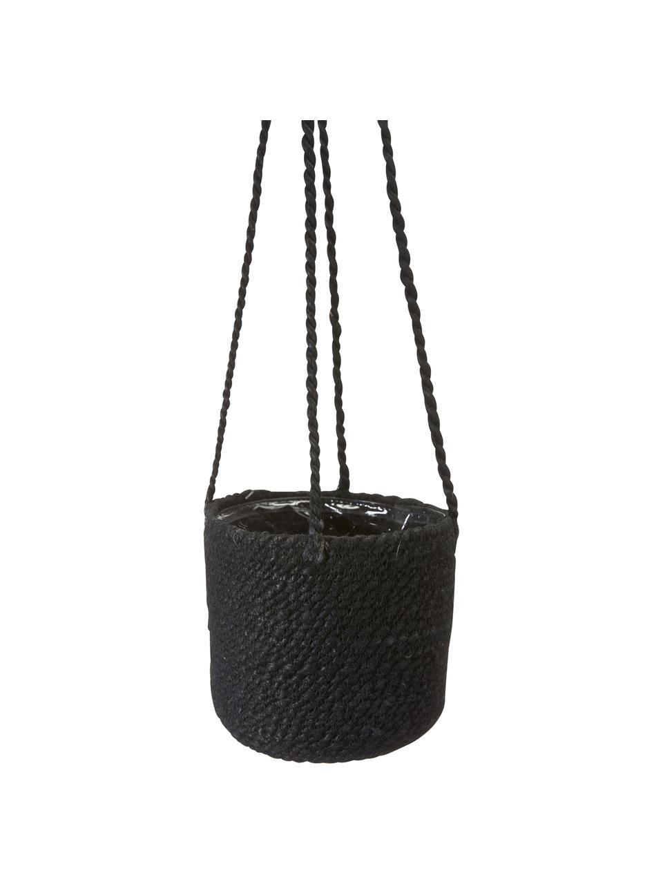 Kleiner hängender Pflanztopf Belle mit Innenfolie, Innen: Kunststoff, Schwarz, Ø 16 x H 75 cm