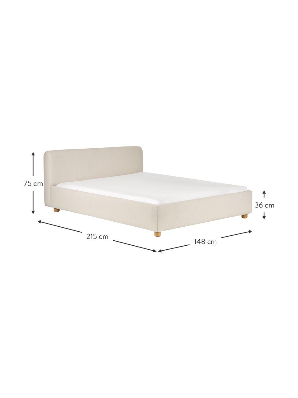 Bouclé  bed Serena in crèmewit, Frame: Massief berkenhout en pla, Bekleding: Bouclé-gestructureerd wee, Wit, 140 x 200 cm
