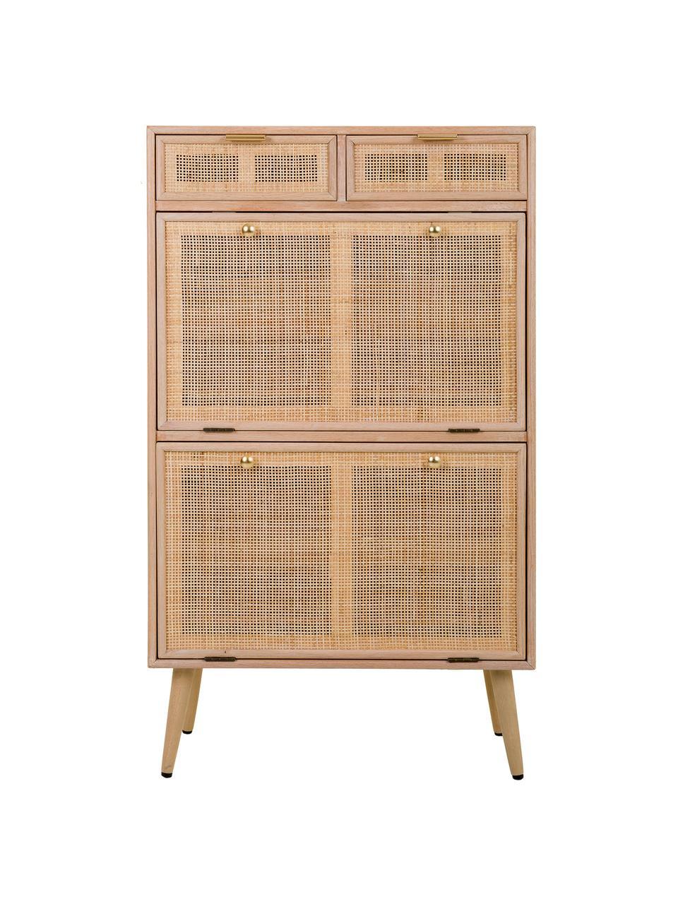 Szafka na buty z drewna Cayetana, Korpus: płyta pilśniowa średniej , Nogi: drewno bambusowe, lakiero, Brązowy, S 70 x W 120 cm