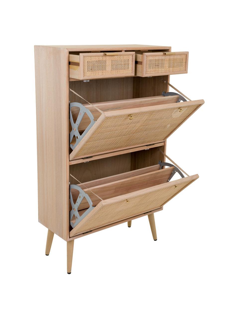 Scarpiera in legno Cayetana, Piedini: legno di bambù verniciato, Marrone, Larg. 70 x Alt. 120 cm