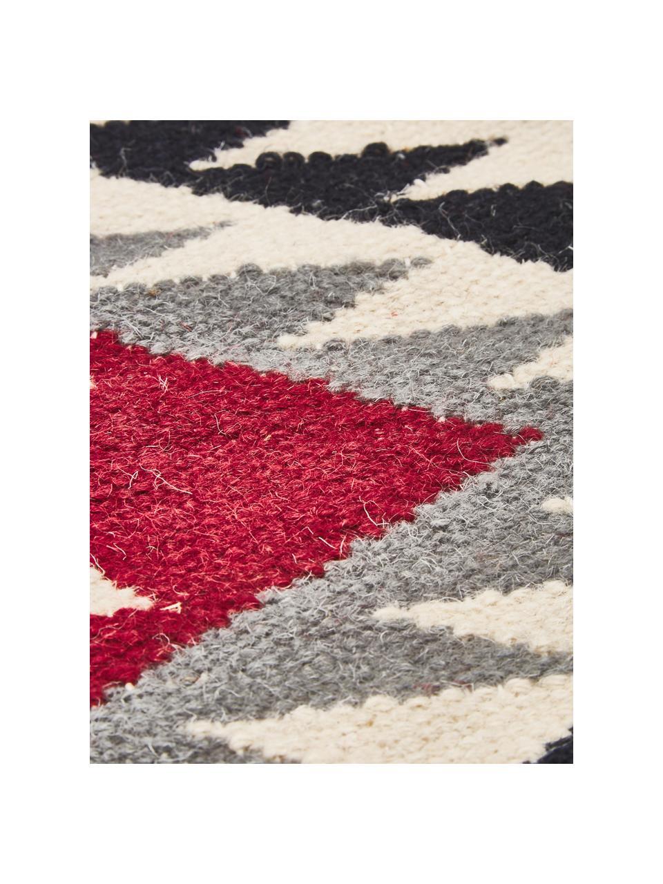 Ręcznie tkany dywan kilim z wełny Zohra Rose, Beżowy, szary, czarny, czerwony, S 200 x D 300 cm (Rozmiar L)