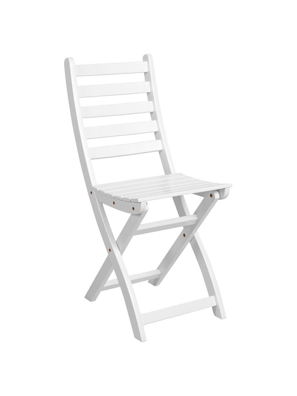 Krzesło składane Lodge, 2 szt., Drewno akacjowe, lakierowane, Biały, S 36 x W 86 cm