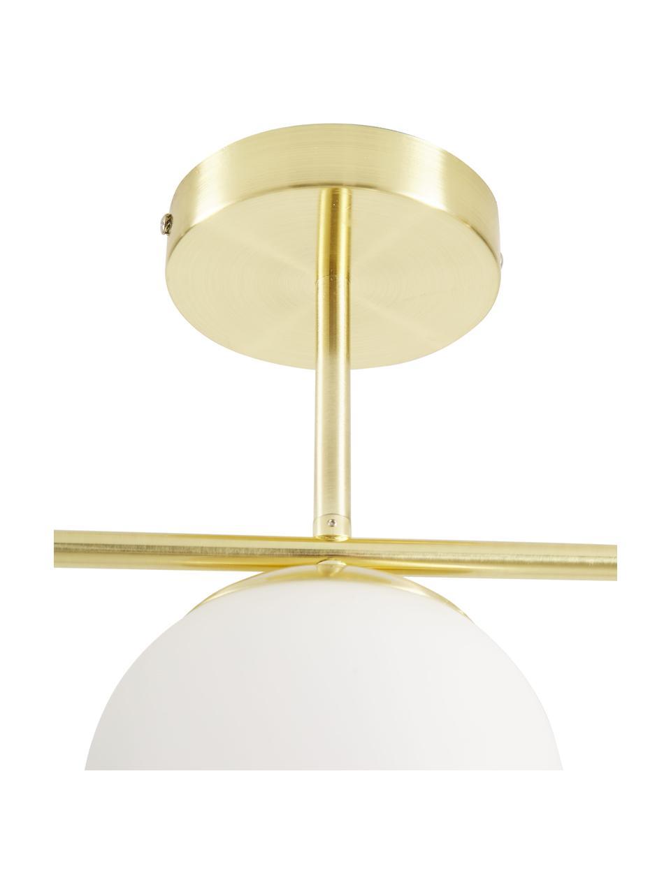 Lampada da soffitto in vetro opale Grant, Paralume: vetro, Struttura: metallo rivestito, Baldacchino: metallo rivestito, Bianco, ottonato, Larg. 70 x Alt. 30 cm
