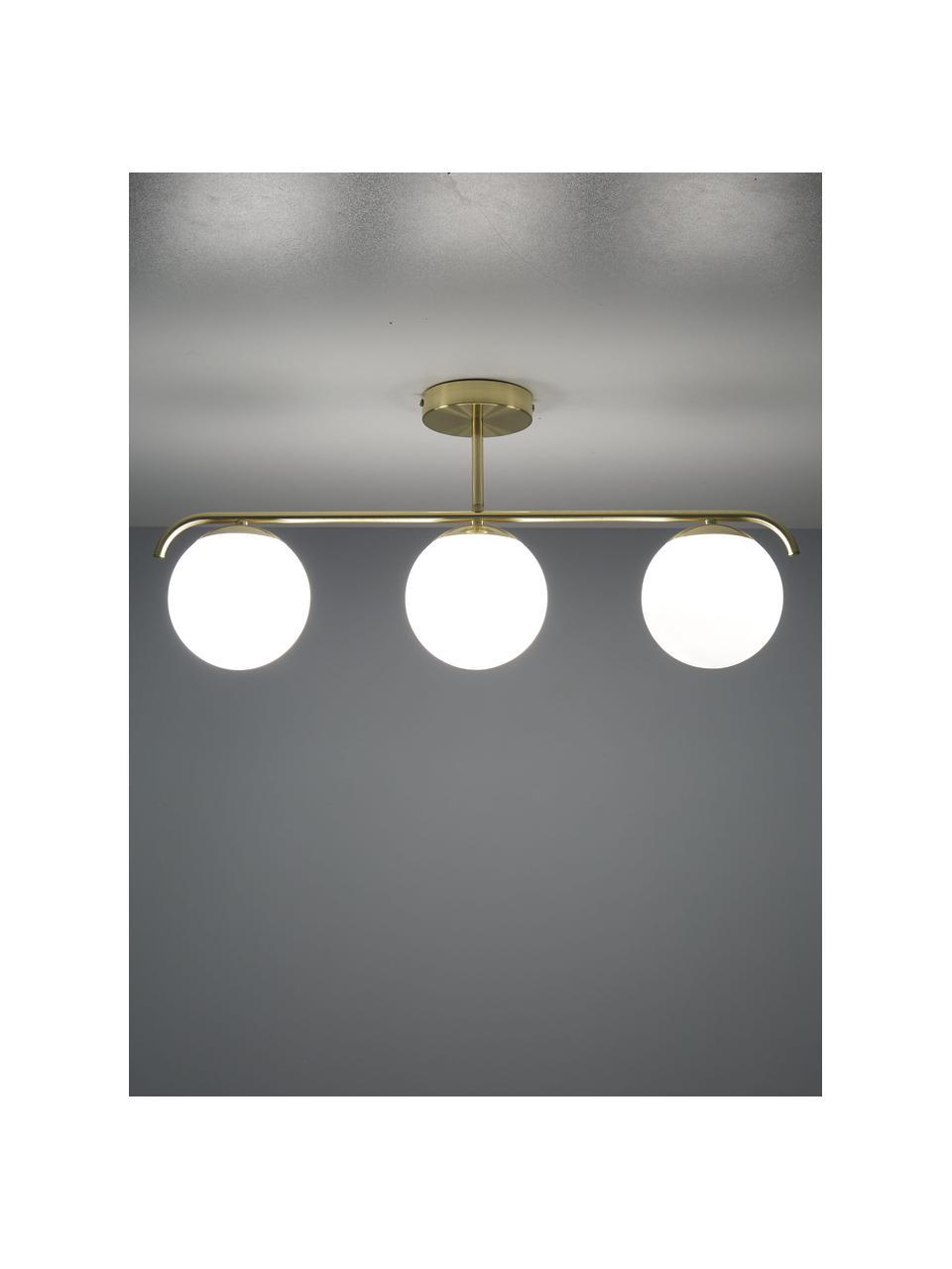 Deckenleuchte Grant aus Opalglas, Baldachin: Metall, beschichtet, Weiß, Messingfarben, 70 x 30 cm