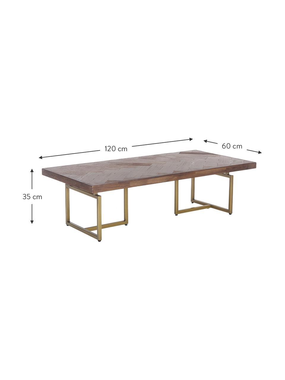 Fischgrät-Couchtisch Class mit Akazienholzfurnier, Tischplatte: Mitteldichte Holzfaserpla, Beine: Stahl, beschichtet, Akazienholz, Messingfarben, 120 x 35 cm