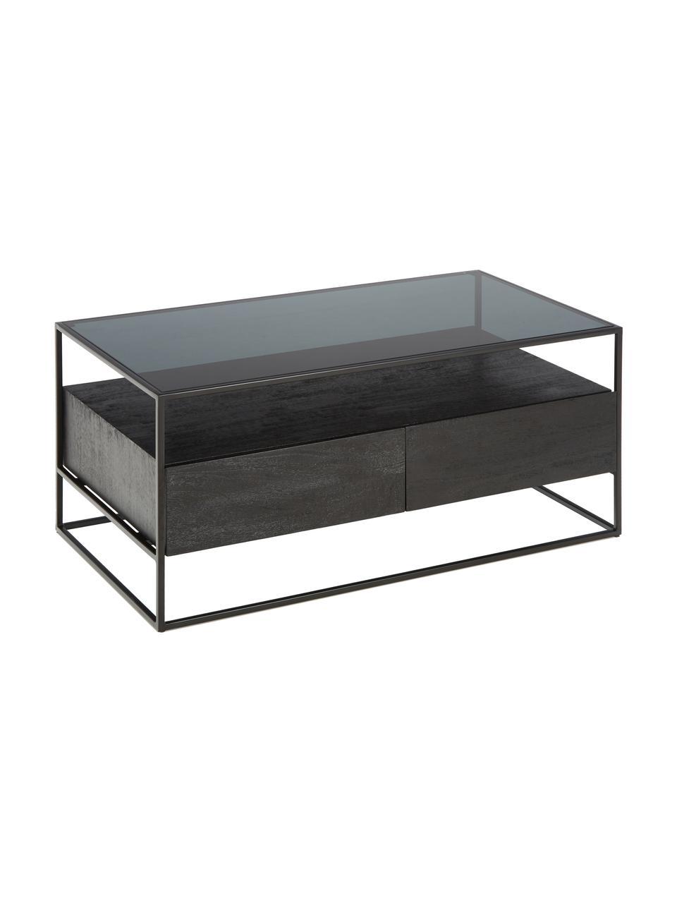 Tavolino da salotto con cassetti Theodor, Piano d'appoggio: vetro, Struttura: metallo verniciato a polv, Nero, Larg. 100 x Alt. 45 cm