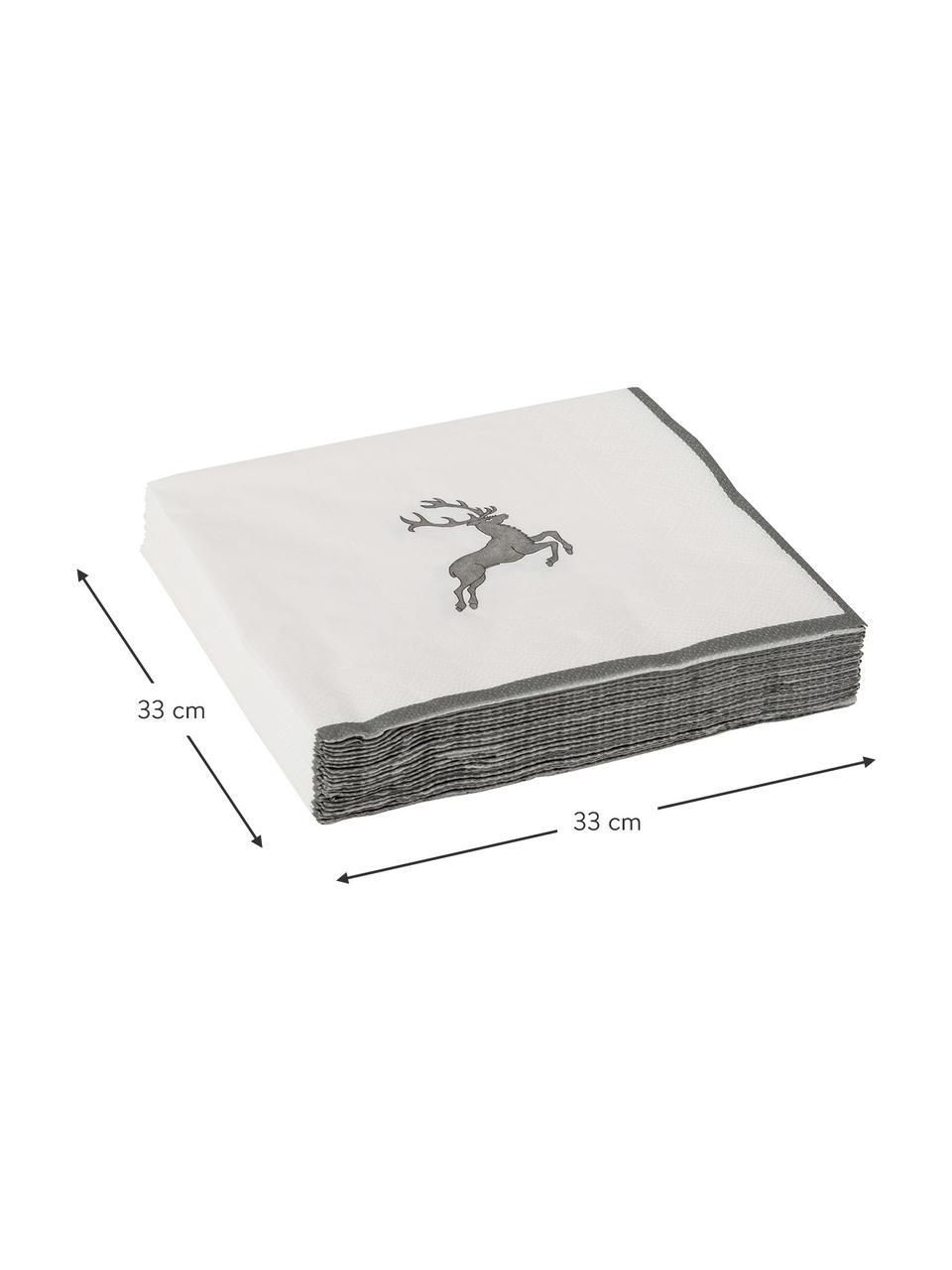 Papieren servetten Grey Deer, 20 stuks, Papier, Grijs, wit, 33 x 33 cm